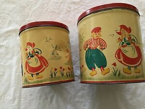 Set of Two Vintage Holland Dutch Tin with lid storage canisters. windmill