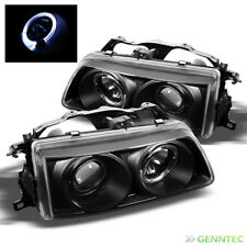 For 90-91 Honda Civic/CRX Twin Halo LED Projector Blk Headlights Head Lights