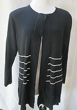Exclusively Misook Cardigan Large Jacket Striped Acrylic One Button Closure L