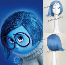 Hot Sale Inside Out Sadness short blue cosplay wig for women + free wig cap
