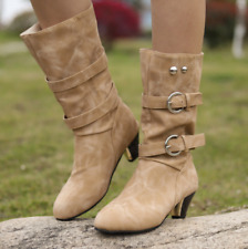 Women Mid-Calf Riding Boots Retro Block Mid Heels Buckle Booties Round Toe Shoes