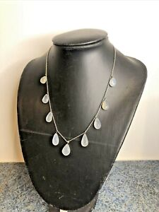 Pretty Silver & Chalcedony Or Moonstone Stone Tear Drop Necklace 925 Gift