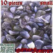 10 Small 10mm Combo Ship Tumbled Gem Stone Crystal Natural - Agate Banded Gray