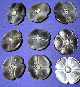 """9 Vintage Mother of Pearl/Abalone Shell Flower & Rhinestone Shank 7/8"""" Buttons"""