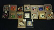Original Game Boy Game Lot of 17 Tennis NFL Alleyway Jeopardy Rugrats Etc