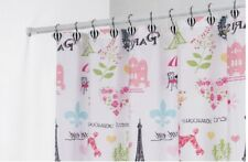 Paris Theme Eiffel Tower Bathroom Shower Curtain & Hot Air Balloon Hook Set NIB