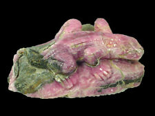 BUTW Argentine natural rhodochrosite hand carved lizard sculpture 0233P ab