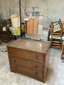 Vintage 1940's 1950's Brown Wooden Chest of 3 Drawers Dressing Table & Mirror