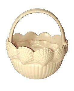 VTG Fitz And Floyd Basket Sea Shells Vase Planter Pink Round Beachy MCM Decor