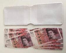 Travel Oyster Card Holder £50 Note Money Wallet Sterling Pound Queen UK