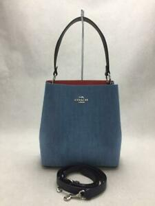 COACH Cotton Denim Blue 91136 Town Bucket 2Way cotton Shoulder bag From Japan
