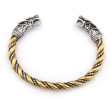 Men's Stainless Steel Viking Gold Wolf Norse Cuff Bracelet Bangle