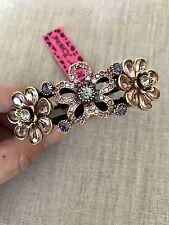 NWT 100% Betsey Johnson Purple Flower Rhinestone Hinged Bangle Bracelet