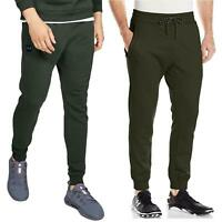 Under Armour Mens Cuffed Joggers Fleece Green Bottoms Sweatpants 1280742 1320740