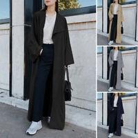 UK Women Ladies Maxi Long Sleeve Waterfall Outwear Duster Jacket Trench Coat Top