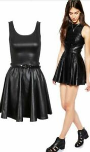 Ladies Womens WET LOOK PVC Belted Plus Size Flared Celebrity Skater Dress 8-26