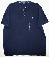 Polo Ralph Lauren Mens Blue Featherweight Mesh Henley Polo Shirt NWT Size L