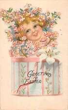 Easter Greetings Child In Flower Box Fantasy Vintage Postcard K28917