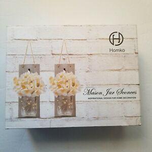 HOMKO Mason Jar Sconces with LED Fairy Lights-Rustic Hanging Mason Jars Decor