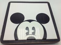 "Disney Mickey Mouse Black & White Tile Trivet Disneyana  8"" Square Hot Plate"
