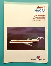 VINTAGE UNITED AIRLINES SAFETY CARD--727  STRETCH—1988