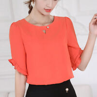 Shirt Short Sleeve Summer Blouse Fashion Loose Ladies Women Top Chiffon T-Shirt