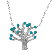 TREE NECKLACE PENDANT W/ TURQUOISE BEADS/ 14K WHITE GOLD OVER  STERLING SILVER