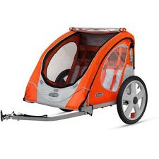 Bicycle Trailer 2-Seater Children Bike Ride Hitch Pull Behind Folding Bug Screen