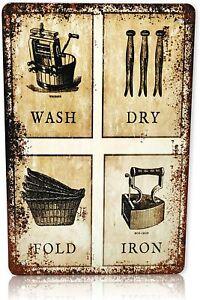 Wash, Dry, Fold, Iron Wringer Washing Box Laundry Room Vintage Retro Metal Sign