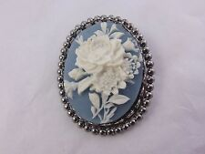 Costume Cameo Silver-tone with Blue & White Resin Flower BROOCH PIN