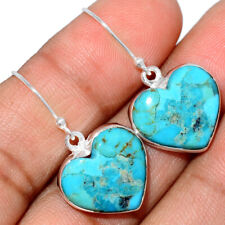 Heart - Blue Mohave Turquoise, Arizona 925 Silver Earring Jewelry AE185398