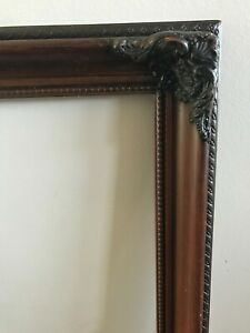 Vtg Antique Ornate Wood Carved Frame Picture Photo Gesso Painting Baroque 22x18