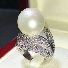 14mm White South Sea Pearl Diamonds 18K Solid White Gold Ring Natural Australia