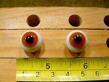 972 un par vintage esférico masivo muñeca cristal ojo alambre círculo de 14 mm