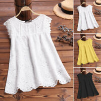 ZANZEA Women Sleeveless Crewneck Hollow Out Eyelet Floral Top Tee T Shirt Blouse