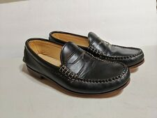 Quoddy Mens Size 8.5 Black Leather Moc Toe Penny Loafers EUC