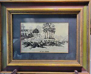 "Antique 19th C. Stevengraph Silk Picture ""At Old Jerome"" Horse Race Textile"
