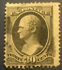 U.S. SCOTT #154 1871 30 CENT HAMILTON  BLACK W/O GRILL IN F/VF CONDITION!