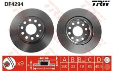 TRW Juego de 2 discos freno Antes 280mm ventilado SEAT LEON VOLKSWAGEN DF4294