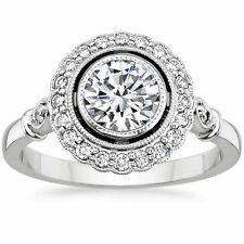 1.50 Ct Round Cut Solitaire Diamond Engagement Ring Solid 14k White Gold