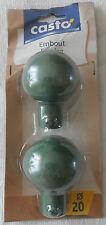 Embout boule Forclaz, décor fer forgé, diamètre 20, vert patiné