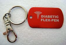 Diabetic Flex-Pen MEDICAL ALERT ID DOG TAGS MILITARY ALUMINUM  W/SS KEY CHAIN