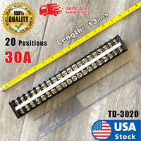 Dual Row 20Positions Screw Terminal Electric Barrier Strip Block 600V 30A USA