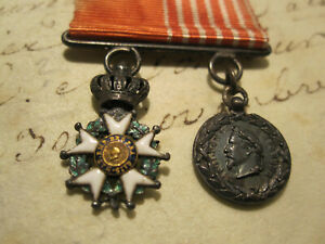 BARETTE MINIATURES- Ordre Legion d honneur et Med. Napoleon III. C d Italie 1859