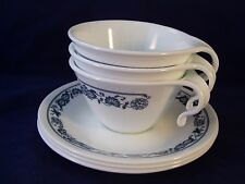 Corelle Old Town Blue Onion 3 Cup & Saucer Sets Hook Handle Stackable Vtg Retro