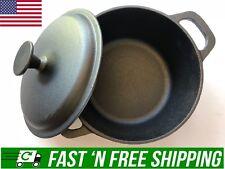 BASIC ESSENTIALS Cast Iron Dutch Oven Pot Pre-Seasoned CASSEROLE Fry Pan Cooking