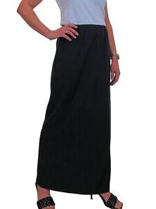 Womens Maxi Long Skirt Day Evening Fully Elastic Waist Black NEW Sizes 10-22