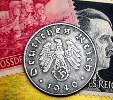 XX-RARE 1940-D WW2 NAZI German 10 Reichspfennig Coin/Swastika & Hitler Stamp LOT
