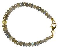 LABRADORIT Armband 925 Silber vergoldet Armkette D925