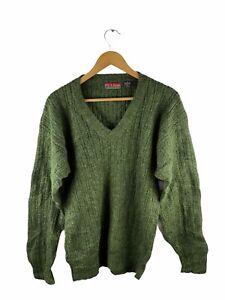 VINTAGE Jos.A.Bank Knit V Neck Jumper Mens Size M Green Long Sleeve 100% Wool
